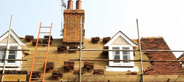 Roof tiles on an extension